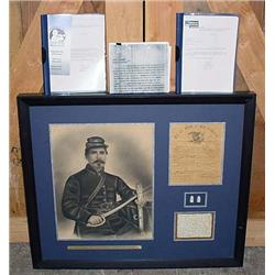 RARE FRAMED CIVIL WAR SOLDIER HORACE G. BESSEY HIS
