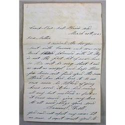 1863 CIVIL WAR SOLDIER LETTER FROM CAMP NEAR - Wri