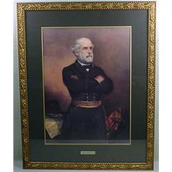 LARGE FRAMED CIVIL WAR ART PRINT OF GEN. ROBERT E.