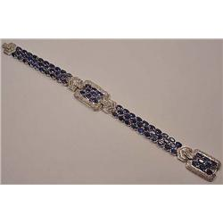 14K WHITE GOLD LADIES DIAMOND AND SAPPHIRE BRACELE