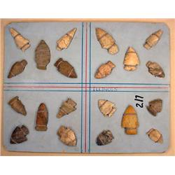 LOT OF ARROWHEADS ATTACHED TO BACKING MARKED ILLIN
