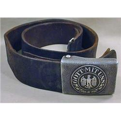 1936 GERMAN NAZI ARMY BELT BUCKLE AND LEATHER BELT