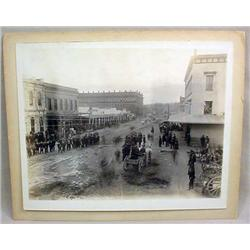 EARLY MOUNTED PHOTO OF CHINATOWN ON FERRY ST. IN S
