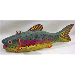 """VINTAGE WOODEN FISH DECOY / LURE - Approx. 8"""" long"""
