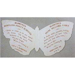BURROWES BILLIARD TABLES DIE-CUT BUTTERFLY VICTORI