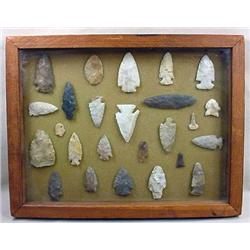 COLLECTION OF ARROWHEADS IN A DISPLAY FRAME