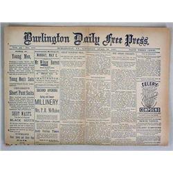 4-30-1887 BURLINGTON DAILY FREE PRESS NEWSPAPER -