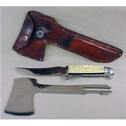 EARLY WESTERN KNIFE AND HATCHET SET W/ ORIG. SHEAT