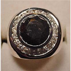 14K WHITE GOLD BLACK AND WHITE DIAMOND RING - Come