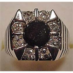 14K WHITE GOLD LADIES BLACK AND WHITE DIAMOND RING
