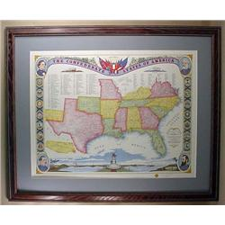 "LARGE FRAMED LTD. ED. CIVIL WAR ART PRINT ""CONFEDE"