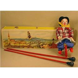VINTAGE TIGHT ROPE UNICYCLING CLOWN TOY - IN ORIG.