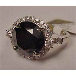14K WHITE GOLD LADIES BLACK AND WHITE DIAMOND RING