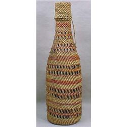 NORTHWEST NATIVE AMERICAN BASKETRY BOTTLE - Approx