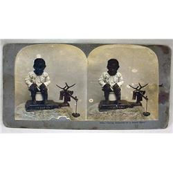 ANTIQUE BLACK AMERICANA PHOTO STEREOVIEW CARD OF T