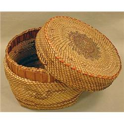 MAKAH NATIVE AMERICAN INDIAN LIDDED BASKET - Appro