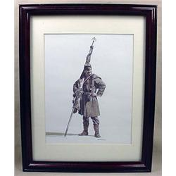 FRAMED ART PRINT OF A CIVIL WAR SOLDIER - Dated 19