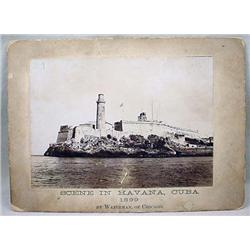 1899 MOUNTED PHOTO OF MORRO CASTLE IN HAVANA HARBO