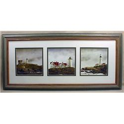 FRAMED DISPLAY OF 3 LIGHTHOUSE PRINTS BY DOUG BREG