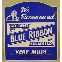 VINTAGE BLUE RIBBON CIGARELLO CARDBOARD ADVERTISIN