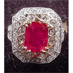 14K WHITE GOLD LADIES DIAMOND AND RUBY RING - Come