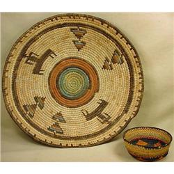 LOT OF 2 HAND MADE BASKETS - TRIBAL STYLE DESIGNS