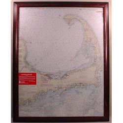 LARGE FRAMED CAPE COD AND HARBORS SOUNDINGS AND FL