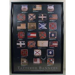"LARGE FRAMED CIVIL WAR ""TATTERED BANNERS"" POSTER -"