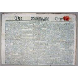 "2-10-1813 ""THE TIMES"" NEWSPAPER - LONDON - Incl. P"