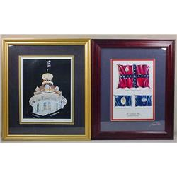 LOT OF 2 FRAMED ART PRINT - 1 SIGNED - Confederate