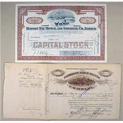 LOT OF 2 ANTIQUE MINING STOCK CERTIFICATES - Hudso