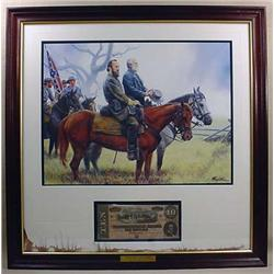 CIVIL WAR FRAMED PRINT AND CONFEDERATE CURRENCY DI