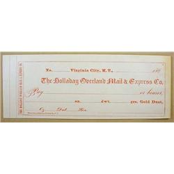 C. 1860'S BLANK CHECK FROM HOLLADAY OVERLAND MAIL