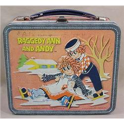 1973 RAGGEDY ANN AND ANDY METAL LUNCHBOX BY ALADDI