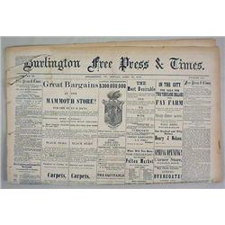 4-28-1879 BURLINGTON DAILY FREE PRESS NEWSPAPER -