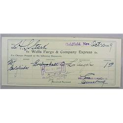 1909 WELLS FARGO AND CO. EXPRESS RECEIPT DURING GO
