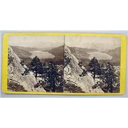 ANTIQUE PHOTO STEREOVIEW CARD OF DONNER LAKE TAKEN