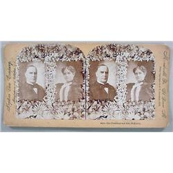 ANTIQUE PHOTO STEREOVIEW CARD OF THE PRESIDENT AND