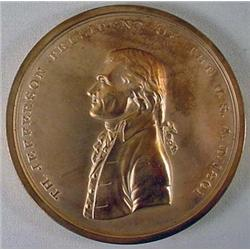 BRONZE PEACE MEDAL RESTRIKE OF THOMAS JEFFERSON U.