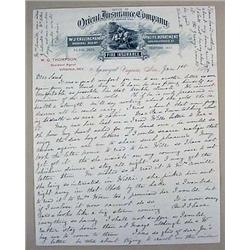 1899 LETTER FROM WIFE OF W.G. THOMPSON - DELEGATE