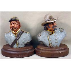 LOT OF 2 CONFEDERATE SOLDIER CIVIL WAR BUSTS - SIG