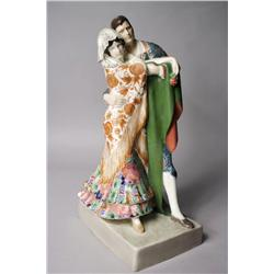 A Goldscheider Porcelain Figural Group Depicting a Matador and Senorita by Karl Perl,