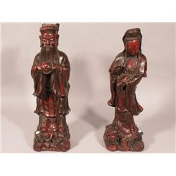 A Pair of Chinese Cast Plaster Figures.