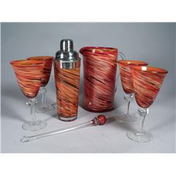 A Murano Style Glass Cocktail Set,