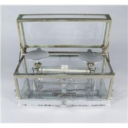 A Vintage Chrome and Glass Pharmacy Scale by Torsion Balance Company New York.