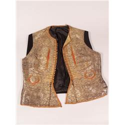 Two Late 19th Century Moroccan Gilt Embroidered Vests,