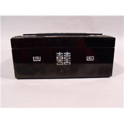 A Chinese Black and Red Laquered Box with Carved Mother of Pearl Decoration,