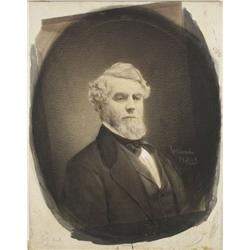 George Rockwood (1832-1911, American) Portrait of a Gentleman, Hand-colored Photograph, Ink wash and