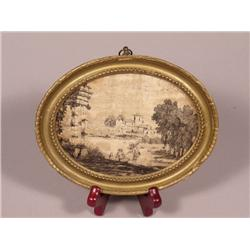 A Continental Framed Silk Needlepoint Depicting Figures in a Landscape, 18th/19th Century,