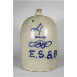 A 4 Gallon Stoneware Jug with Cobalt Glaze Decoration,